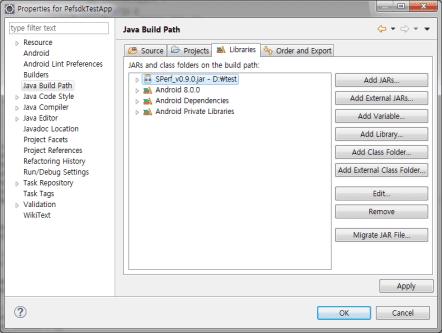 Figure: External JAR added to Libraries tab