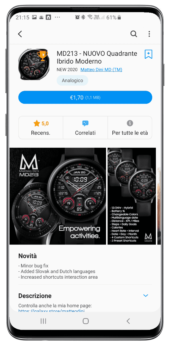 Galaxy Watch app in the Italian Galaxy Store