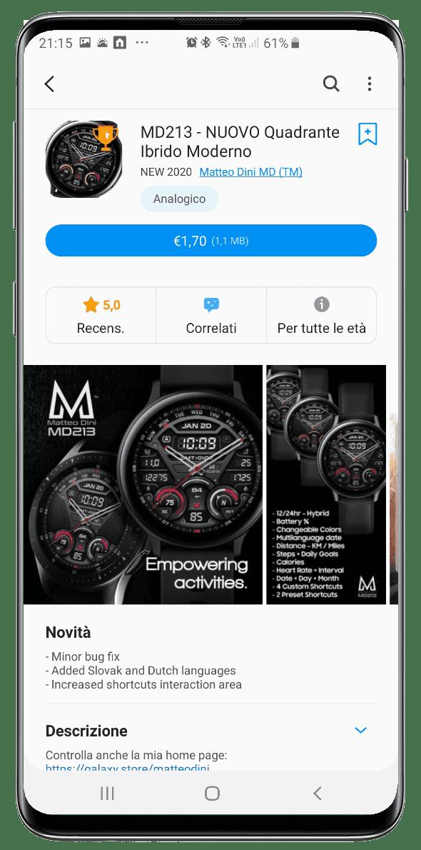 Galaxy Watch app in the Italian Galaxy Store