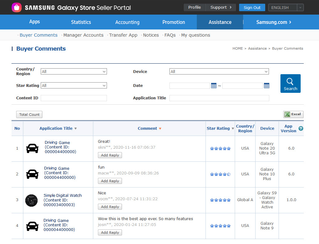 This example shows the Galaxy Store ratings and reviews for all of your apps in Seller Portal.