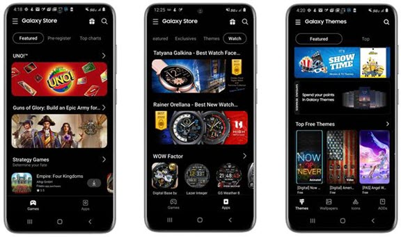 Examples of banners in Galaxy Store promoting apps