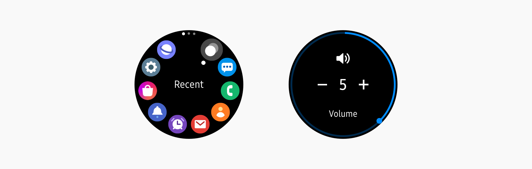 The interface design suggests how the user should utilize the bezel.