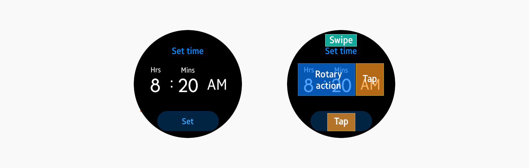 If a rotary action adjusts the alarm time, do not use it to control other input fields.