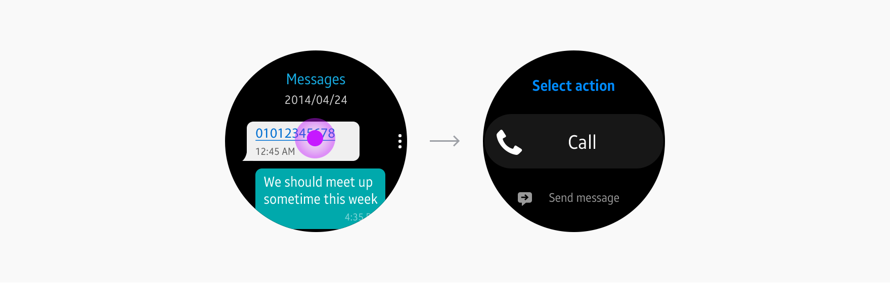 Users can choose if they want to call or message someone.