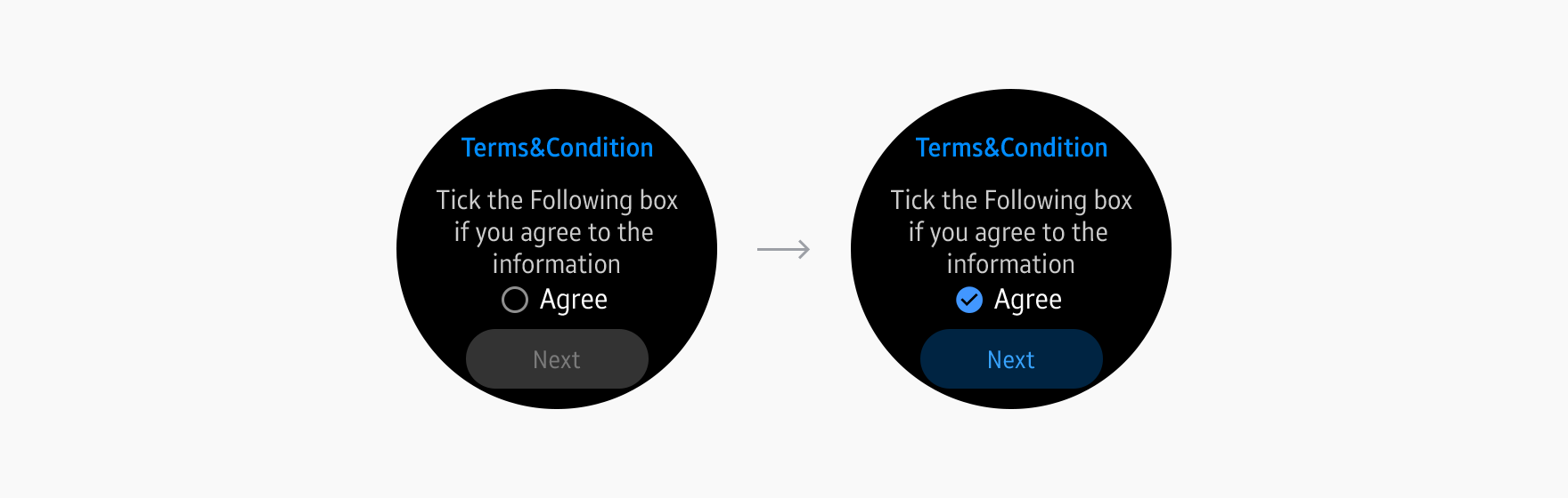 Terms and conditions provide a checkbox below the content so users can agree or disagree.