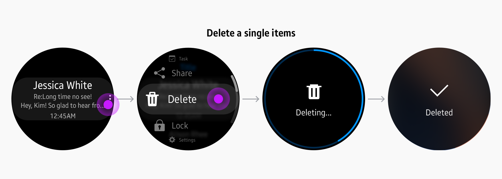 sers can access the Delete button through more options. Either multiselection or single selection is available, depending on the content.