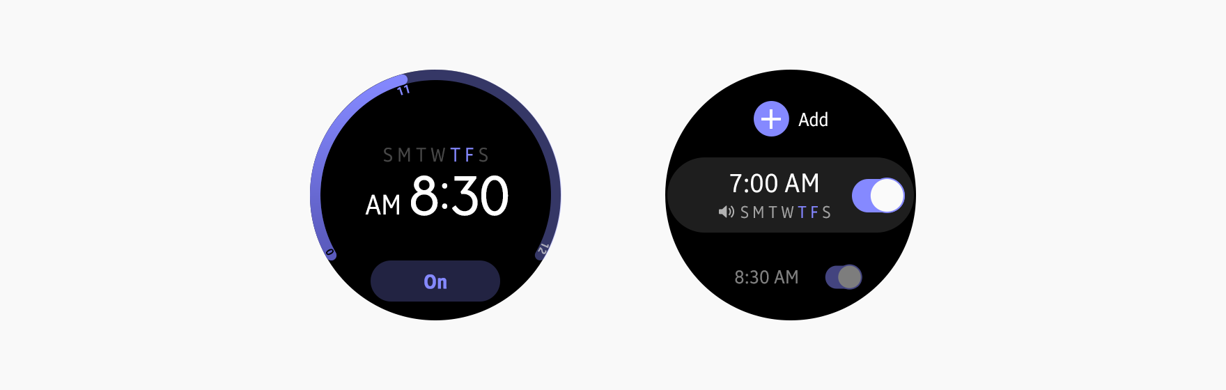 Widgets for the Alarm app use purple as an identity color.