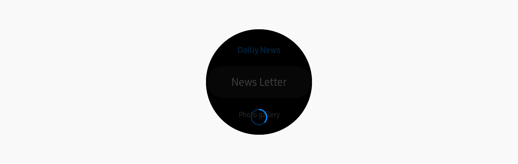 A small activity indicator spins in the middle of the screen to show that an action is ongoing.