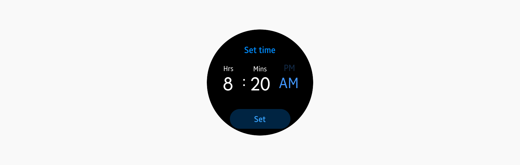 A time picker sets the time.