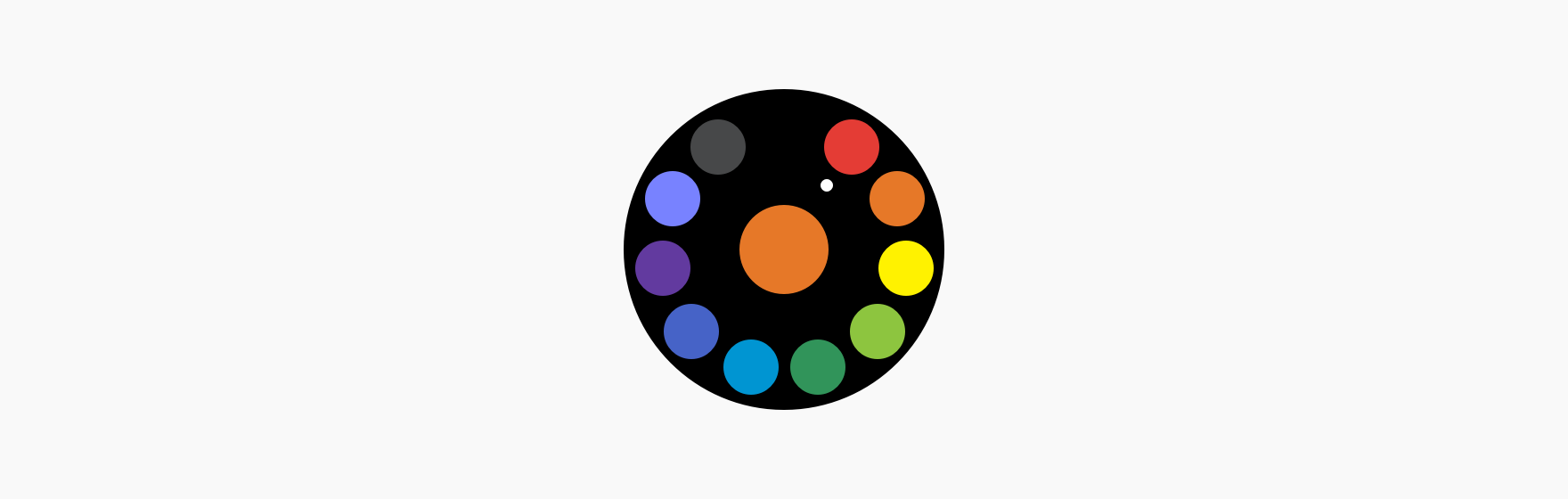 A color picker is provided as a rotary selector and picks a color.