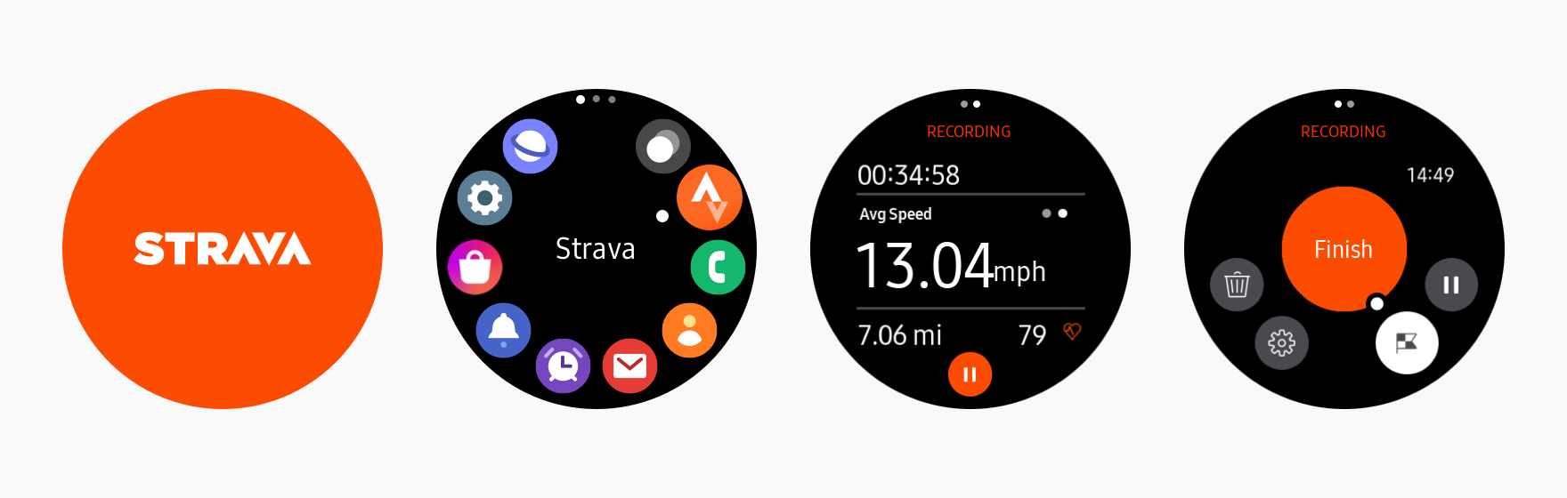 Strava lets users track, analyze, share, and explore their running and biking activities. It uses the company's orange brand color and white in a balanced and consistent way. The company's brand color is used consistently throughout the app to express the brand identity.