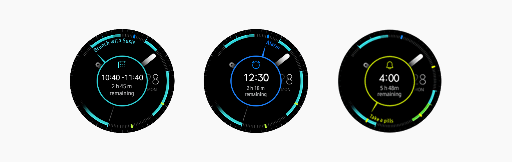 The My Day watch face allows users to check upcoming Calendar, Reminder, and Alarm events using the bezel.