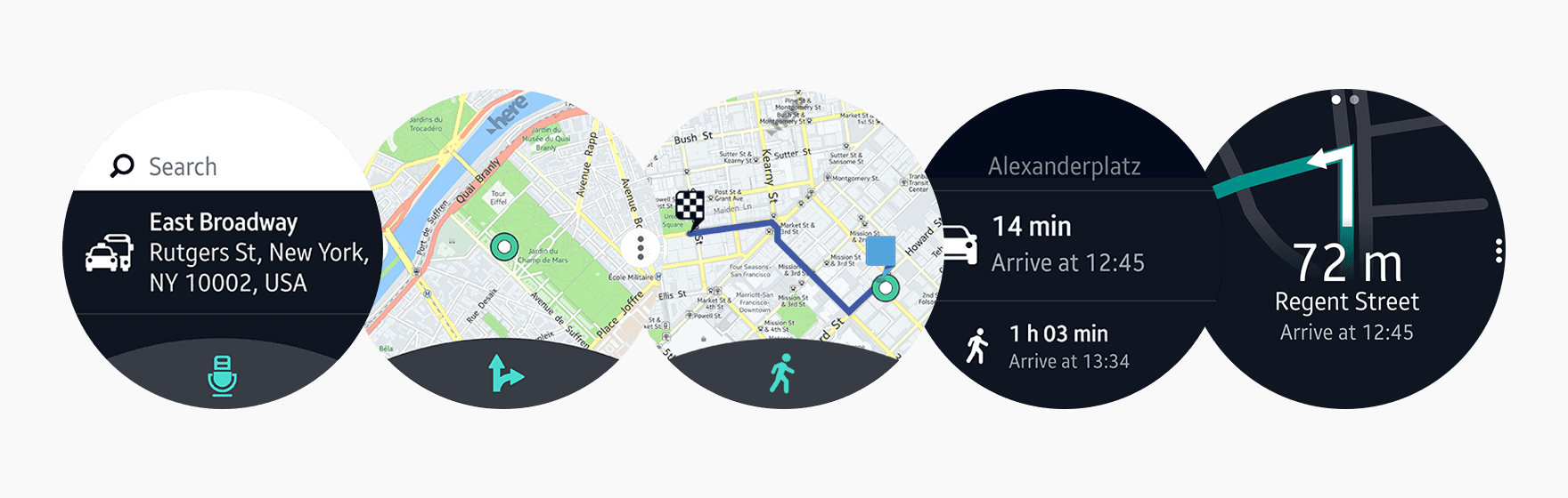 HERE WeGo shows maps and journey directions. Users can search for addresses vocally, zoom in and out of the map using the bezel, and explore the map by swiping in any direction.