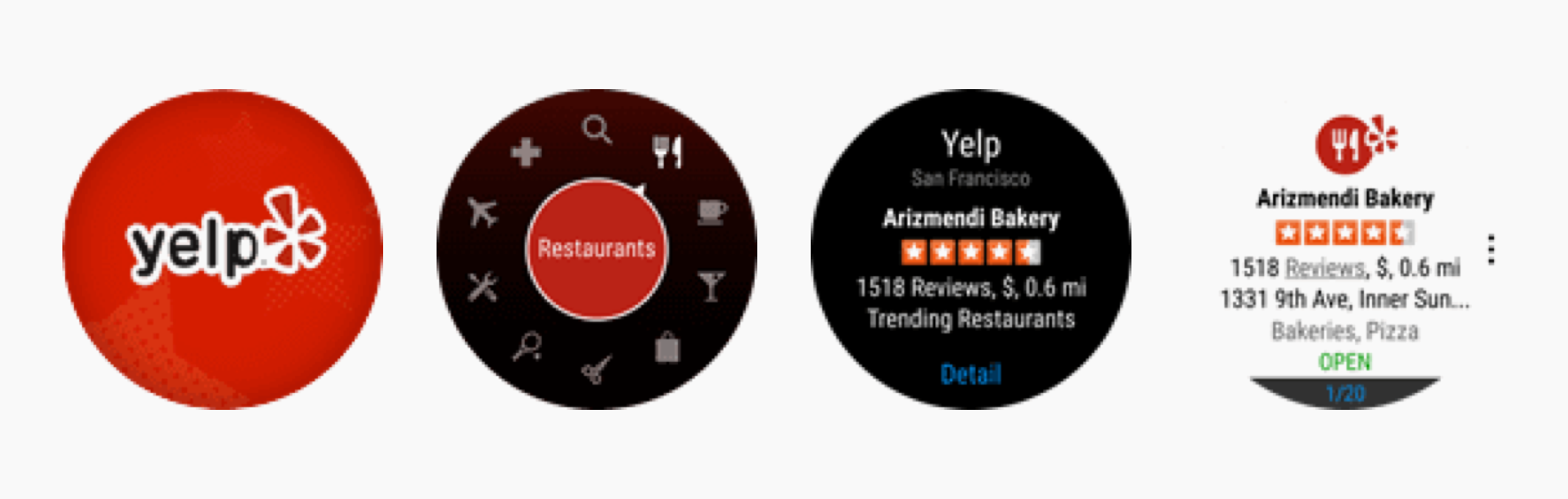 Yelp helps people find the best local businesses. It suggests nearby stores or restaurants based on the user's current location. Users can interact with the app in diverse ways using the bezel, tapping, swiping, and speaking (when they double-tap the screen).