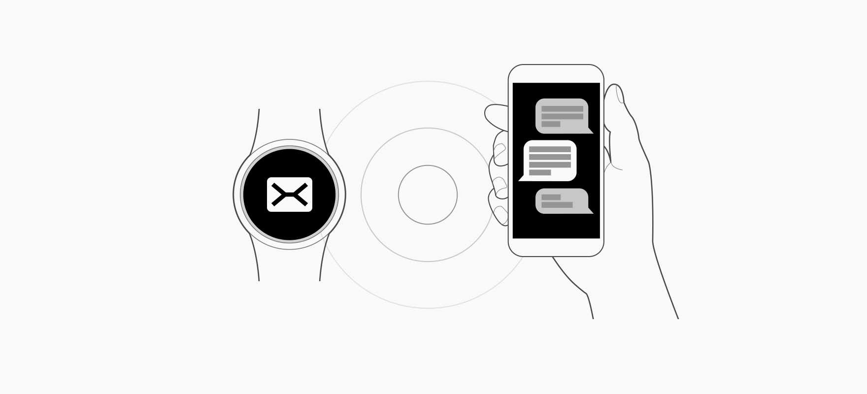 When the watch and the paired phone are within a certain range, users can open information from the watch on the phone.
