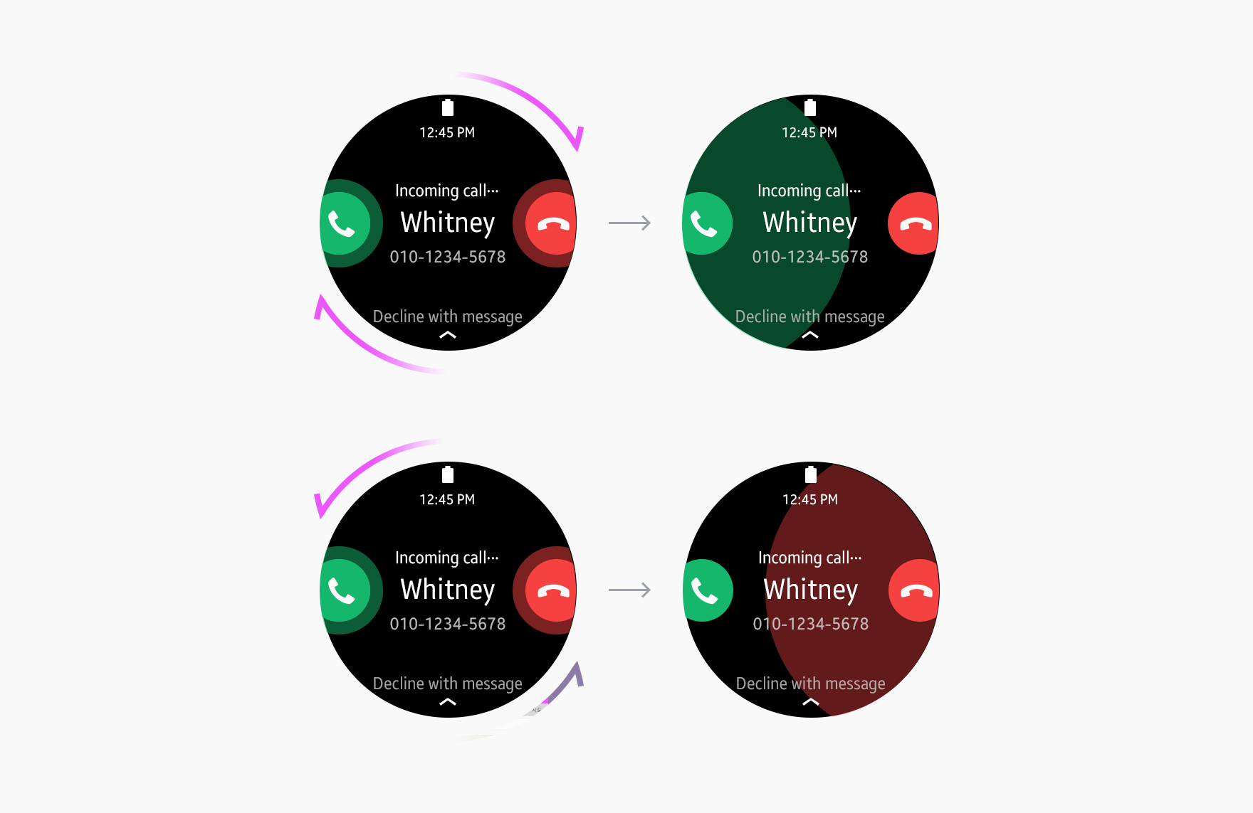 Rotating the bezel quickly selects an option on either side.