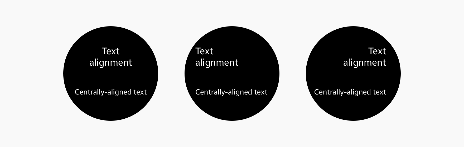 We recommend aligning text in the center when the text is short.