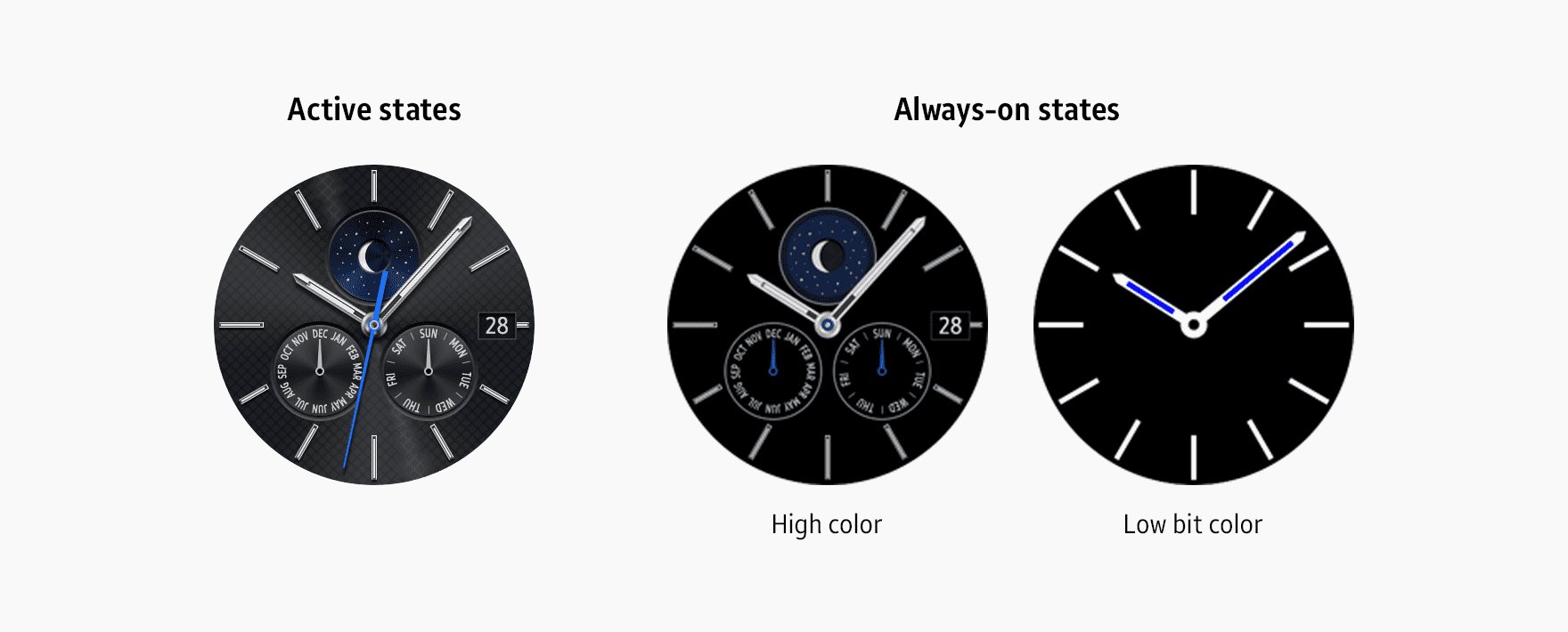 The appearance of watch face designs may vary depending on the color mode and state.