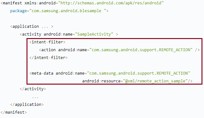 Figure 1: Remote action activity in the AndroidManifest.xml file
