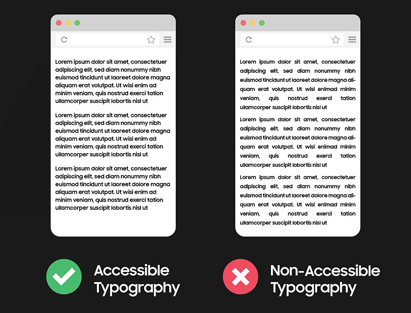 Image showing accessible versus non-accessible typography