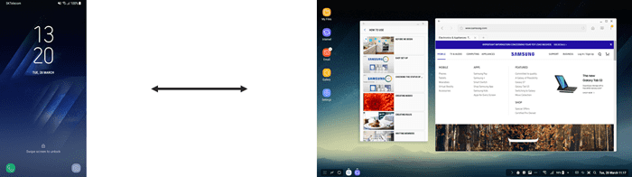 Figure 2: Samsung mobile vs. Samsung DeX Mode