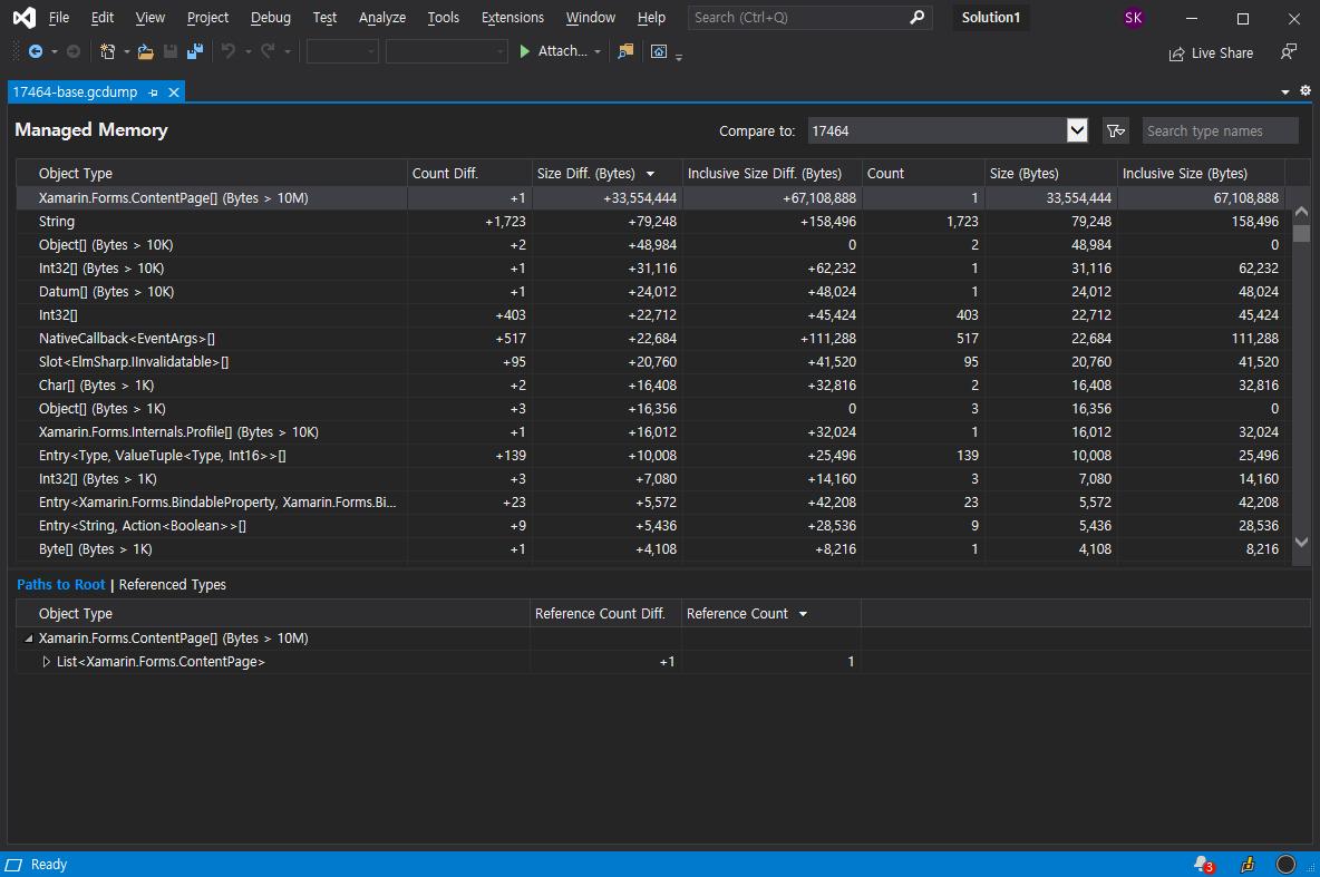 Visual Studio comparison view