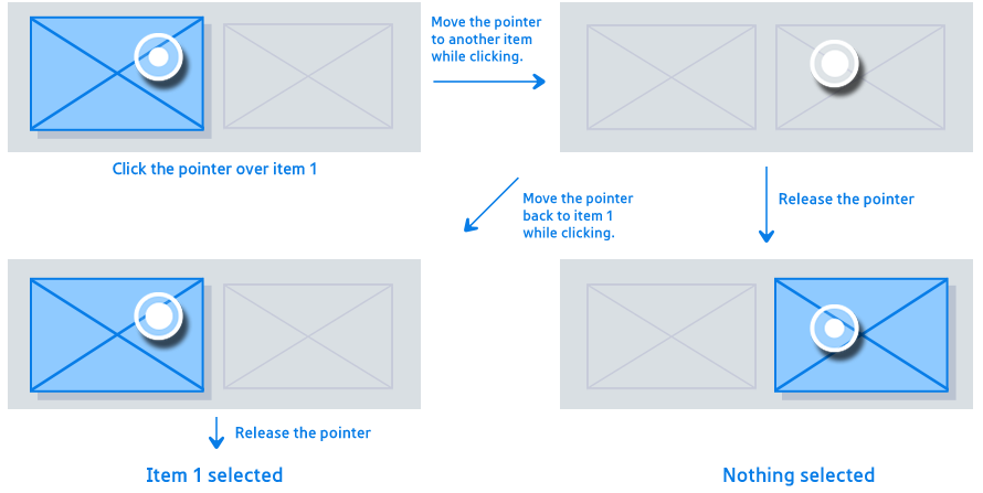 Figure 3-16. Moving the pointer while selecting an item