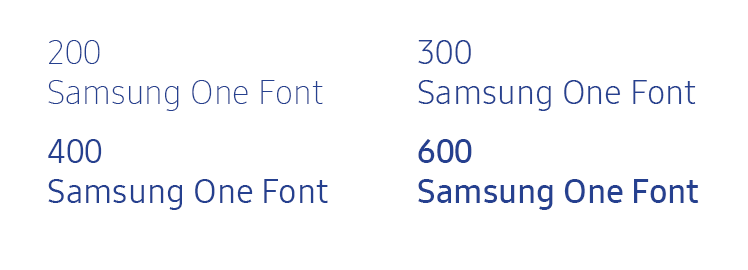 Figure 4-3. Different font weights of Samsung One UI