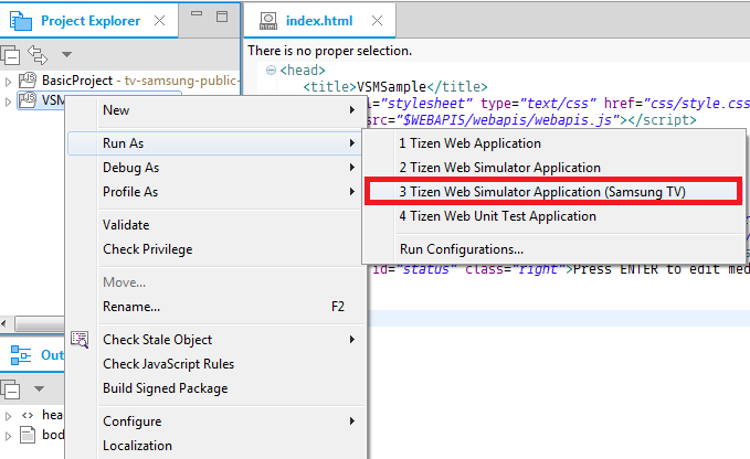 Figure 1. Launching an application from the Tizen Studio