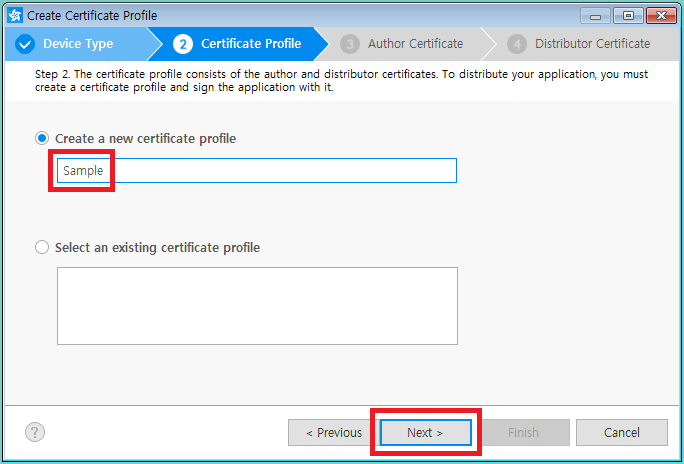 Figure 6. Certificate profile name