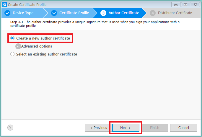 Figure 7. Create new author certificate