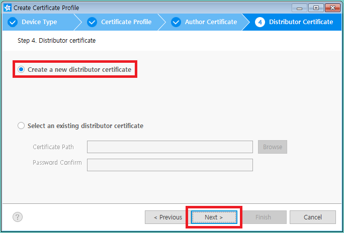 Figure 13. Create new distributor certificate