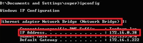Figure 6. Network bridge IP address