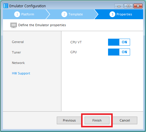 Figure 6. Finish emulator instance creation