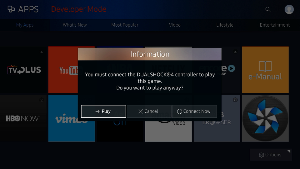 Figure 2. Correct gamepad not connected popup