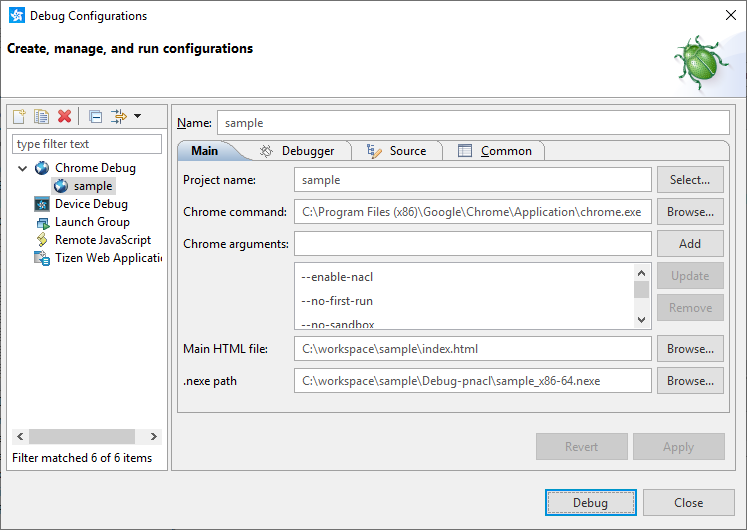 Figure 2. Chrome debug configuration