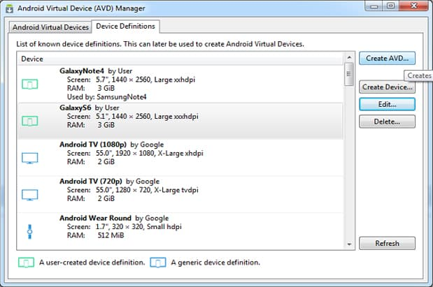 Figure 4: Android Virtual Devices