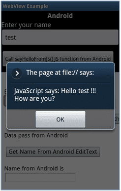 Figure 7: Android to JavaScript Function Call