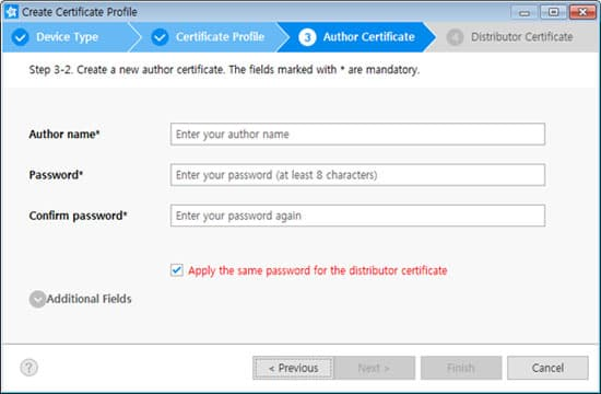 Creating certificates samsung developers if you want to use the same password for the distributor certificate in the next step check the box below additional fields contains more csr information altavistaventures Choice Image