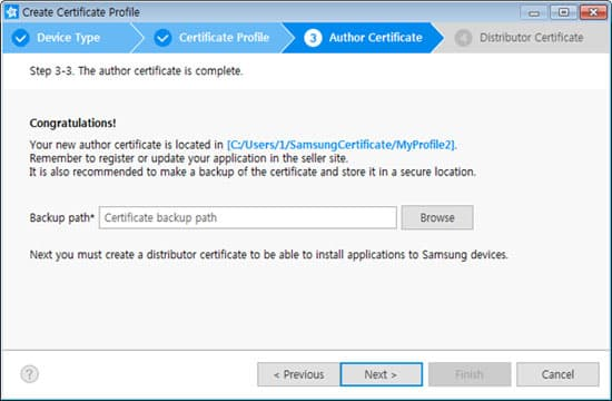 Creating Certificates SAMSUNG Developers