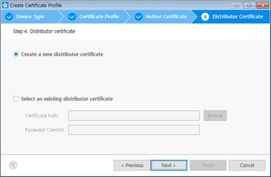 Creating certificates samsung developers select create a new distributor certificate in case of select an existing distributor certificate see the managing certificate altavistaventures Choice Image