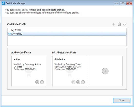 Managing certificate in a profile samsung developers the active profile is indicated by the check mark all of the application in this tizen studio will be signed with this active profile altavistaventures Choice Image