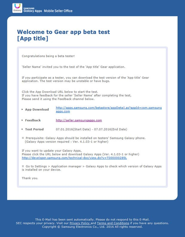 Did you receive an invitation email to a Gear app beta test? Then you're selected as a beta tester.