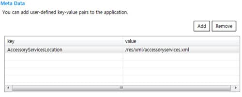 Add meta data to define the Accessory Service Profile XML file location