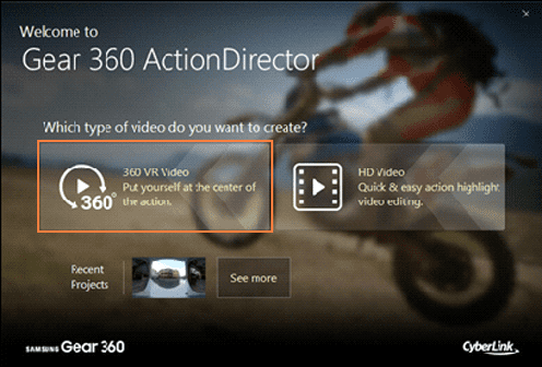 Figure 1 Gear 360 ActionDirector Welcome Page