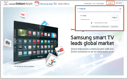 Navigate to the Samsung Seller Office (http://seller.samsungapps.com/) and login using your Samsung account.