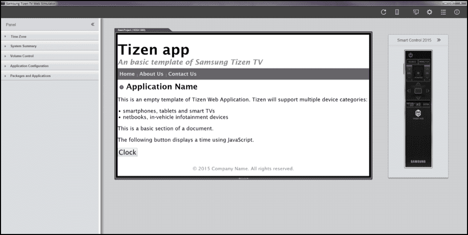Figure 1 Samsung Tizen TV Web Simulator
