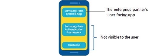 In addition, Samsung devices that support biometric measurements come with Samsung Knox and the Samsung Pass Authentication Framework. After the user downloads and installs the Samsung Pass enabled app developed by the enterprise, the mobile device has the following setup: