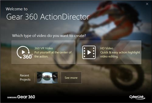 Figure 12 Gear 360 ActionDirector Welcome Page