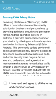 Figure 5 Samsung KNOX Privacy Notice Popup